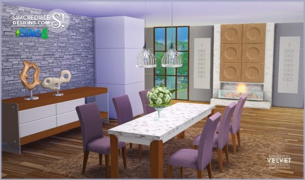 Simcredible designs velvet diningroom sims 4 downloads for Sims 4 dining room ideas