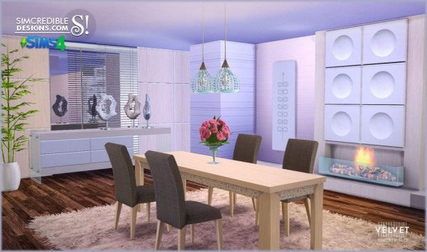 Simcredible Designs Velvet Diningroom Sims 4 Downloads
