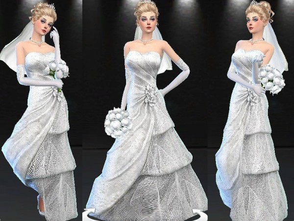 Mod The Sims: Sequins and Tulle Tiered Wedding Dress by mayasims