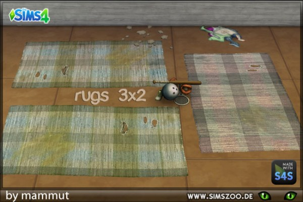 Blackys Sims 4 Zoo: Torn rugs 2x3 by Mammut