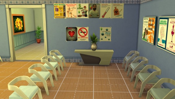 Mod The Sims: Get to Work Decorative Hospital Wall Clutter by crackfox