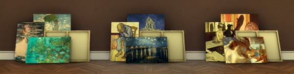 Mod The Sims: Stacks of Monet, Van Gogh and Degas Canvases by ironleo78