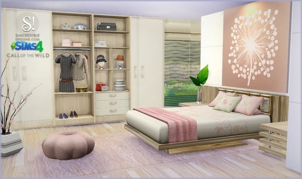 Simcredible designs call of the wild bedroom sims 4 for Bedroom designs sims 4