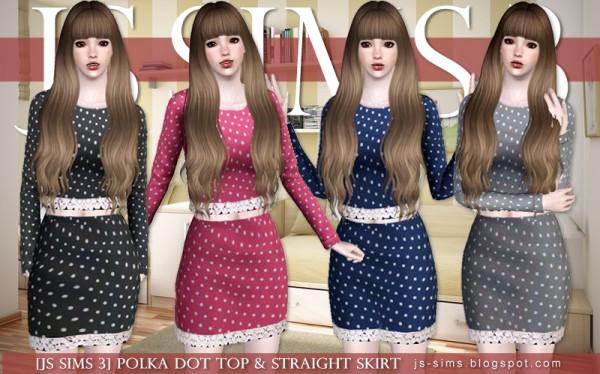 JS Sims 4: Polka Dot Top & Straight Skirt