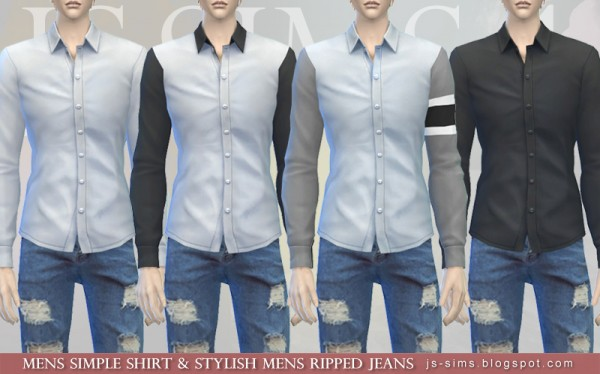 JS Sims 4: Mens Simple Shirt & Stylish Mens Ripped Jeans