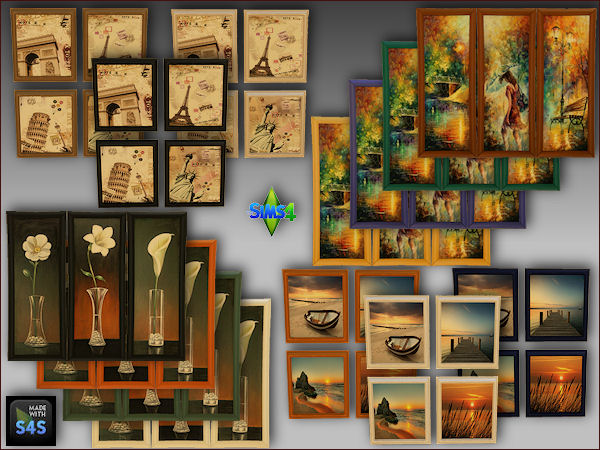 Arte Della Vita: 4 painting sets with colored frames