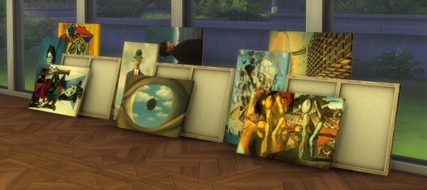Mod The Sims: Stacks of Picasso, Magritte and Dali Canvases by ironleo78