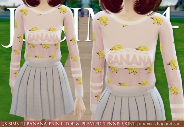 JS Sims 4: Banana Print Top & Pleated Tennis Skirt