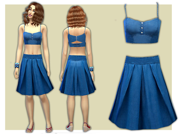 The Sims Resource: Denim Co ord Skirt and Top Set by Shanelle Sims