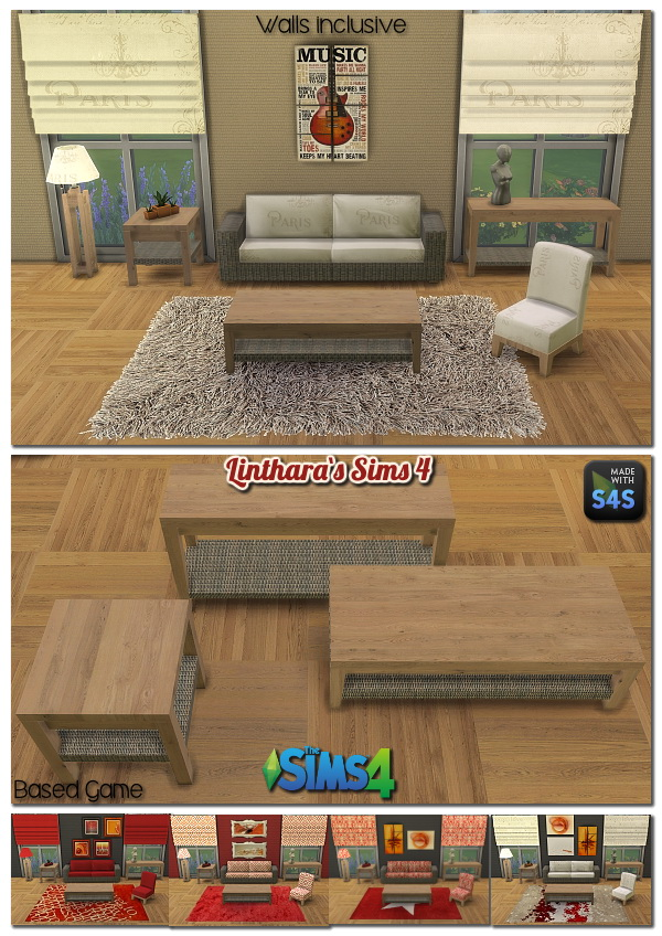 Lintharas Sims 4: Livingroom Miranda    (5 colors)