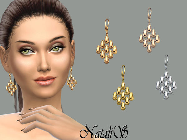 The Sims Resource: Beads cascade drop earrings by NataliS