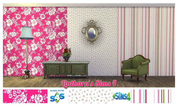 Lintharas Sims 4: Wallset Belle Rose
