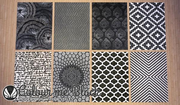 Simsational designs: Colour Me Black Modern Rugs