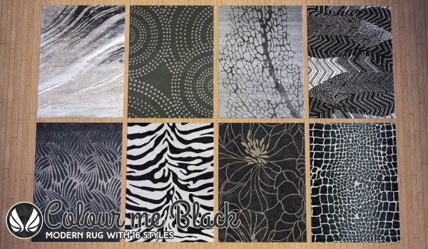 Simsational Designs Colour Me Black Modern Rugs Sims 4
