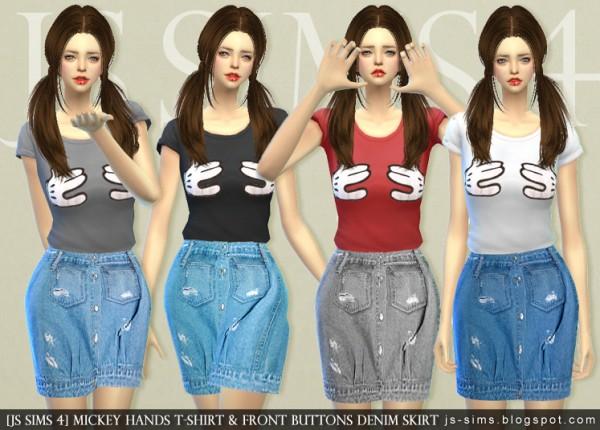 JS Sims 4: Mickey Hands T-shirt & Front Buttons Denim ...