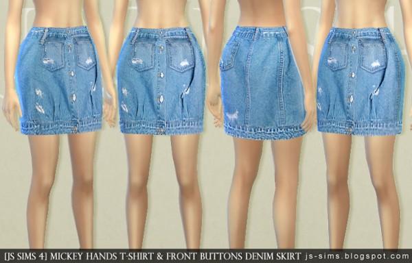 JS Sims 4: Mickey Hands T-shirt & Front Buttons Denim Skirt • Sims ...