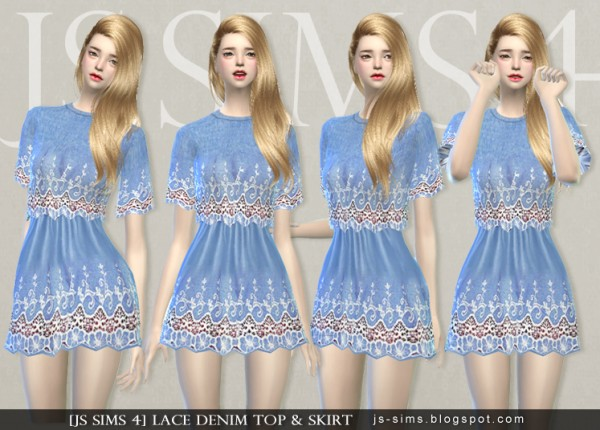 Js Sims 4 Lace Denim Top Amp Skirt Sims 4 Downloads