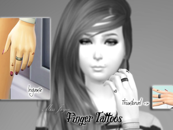 The Sims Resource: Cross & Heart Finger Tattoo by Miss Joyce