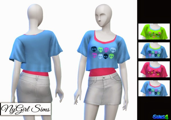 NY Girl Sims: Skull and Lips Crop Tee with Tank
