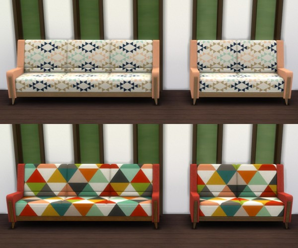 Saudade Sims: Mid Century Fantasy Sofa and Love Seat Recolor