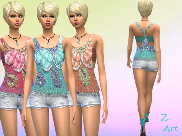 The Sims Resource: Big Flower top by Zuckerschnute20