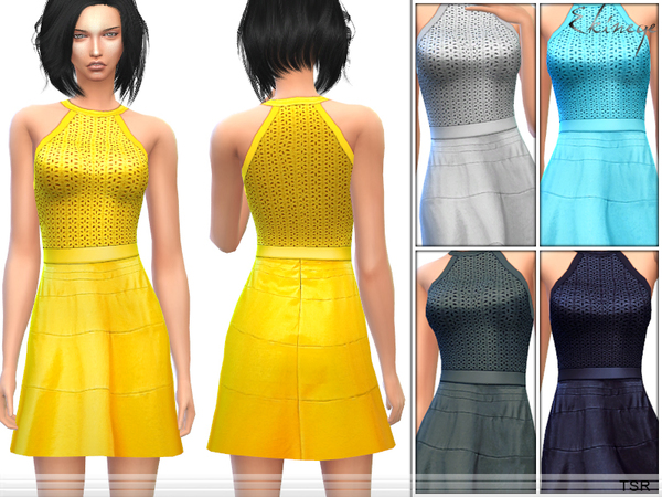 The Sims Resource: Fit & Flare Halter Dress by Ekinege