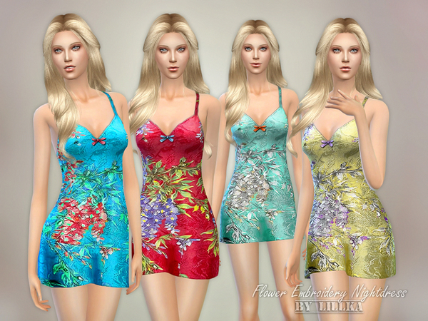 The Sims Resource: Flower Embroidery Nightdress by Lillka
