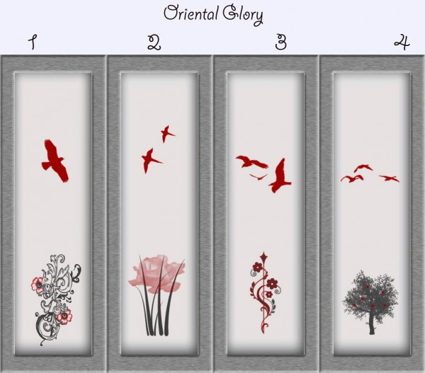 Mod The Sims: Oriental Glory   Oriental Paneling in 4 Designs by Simmiller
