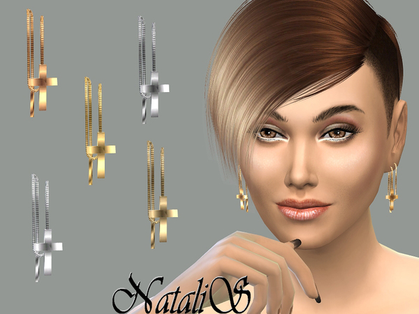The Sims Resource: Cross drop earrings by NataliS