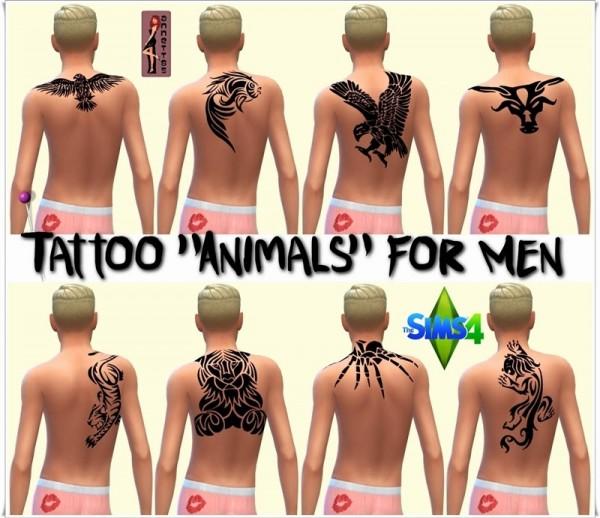 Annett`s Sims 4 Welt: Tattoo Animals for Men