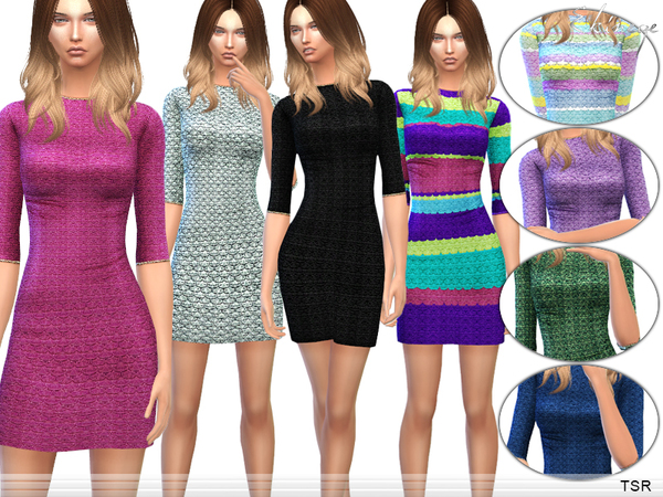 The Sims Resource: Textured Knit Dress by Ekinege