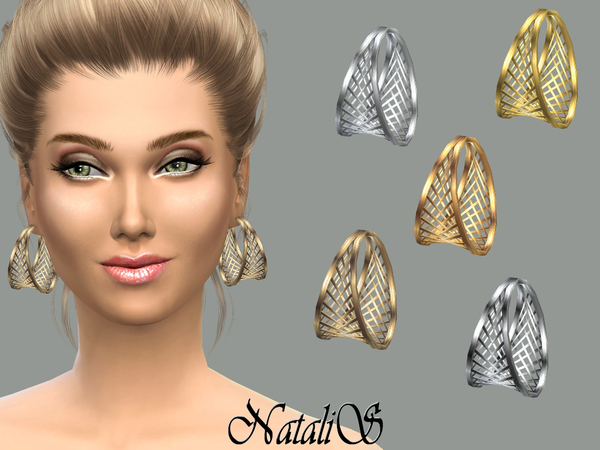 The Sims Resource: Cage hoop earrings by NataliS