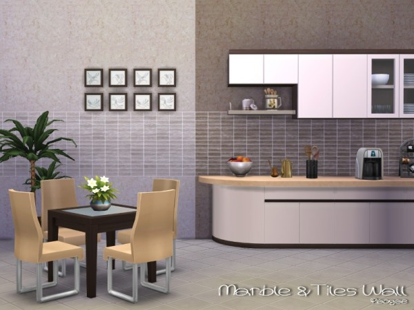 The Sims Resource Marble Amp Tiles Wall By Paogae Sims 4