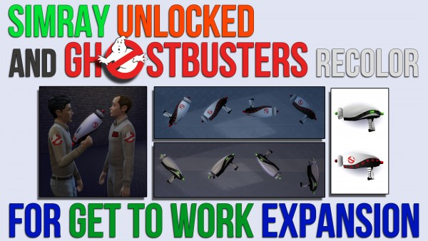 Mod The Sims: SimRay Unlocked And Ghostbusters Recolor by ironleo78