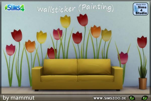 Blackys Sims 4 Zoo: Wall Sticker   tulipes