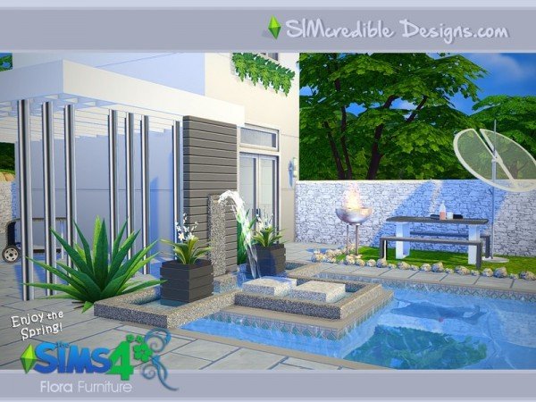 The sims resource flora outdoor set by simcredible design for Sims 4 exterior design