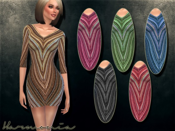 The Sims Resource: Knitted Wool Stretch Mini Dress by Harmonia