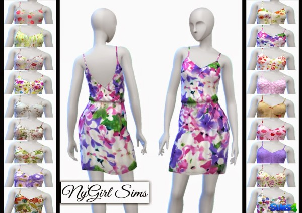 NY Girl Sims: Gathered Spring Dress with Pockets