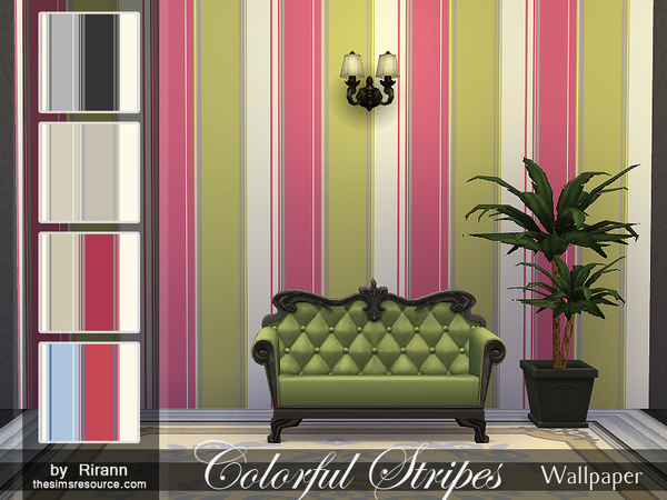 The Sims Resource: Colorful Stripes Wallpaper by Rirann