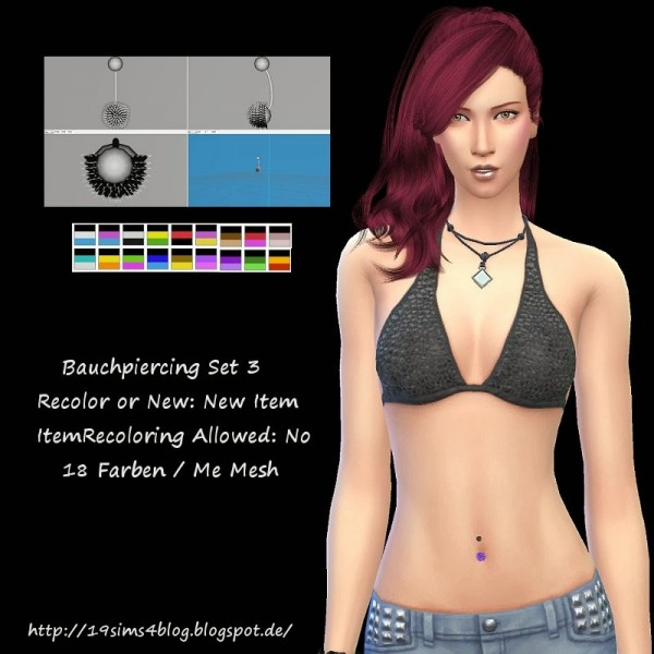 19 Sims 4 Blog: Bellypiercing  Set 3