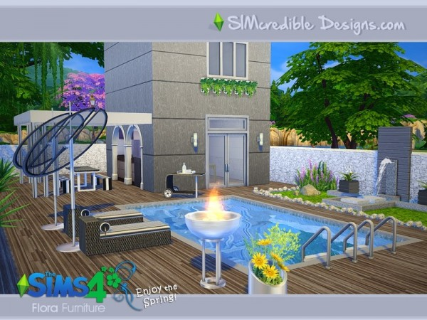 The sims resource flora outdoor set by simcredible design for Pool design sims 4