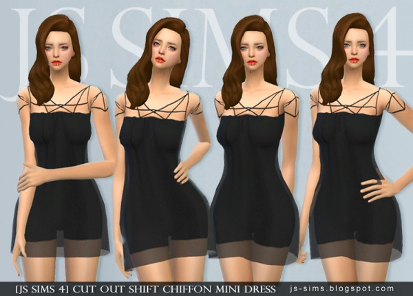 JS Sims 4: Cut Out Shift Chiffon Mini Dress