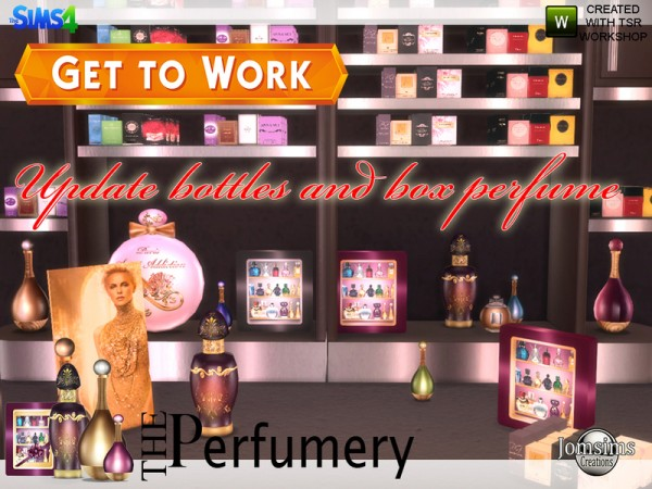 The Sims Resource: The perfumery get to work bottles and box update by JomSims