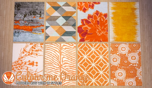 Simsational Designs Colour Me Orange Modern Rugs Sims 4