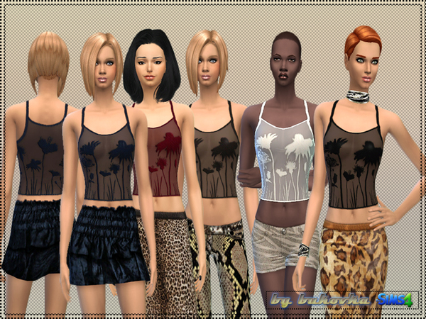 The Sims Resource: Tank Floral Silhouette by Bokovka