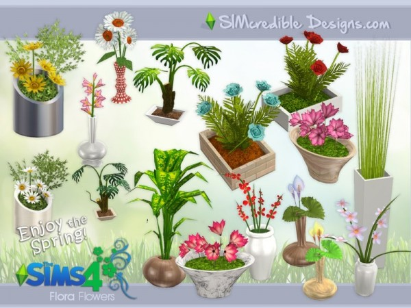 the sims resource flora plants by simcredible sims 4 downloads. Black Bedroom Furniture Sets. Home Design Ideas