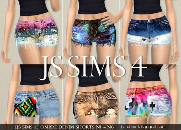 JS Sims 4: Ombre Denim Shorts N1 ~ N6