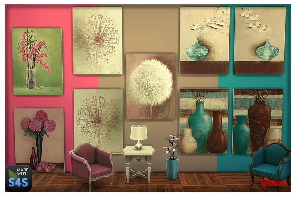 Lintharas Sims 4: Flower paintings