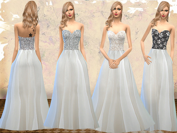 The Sims Resource: Strapless Wedding Dresses by Melisa Inci