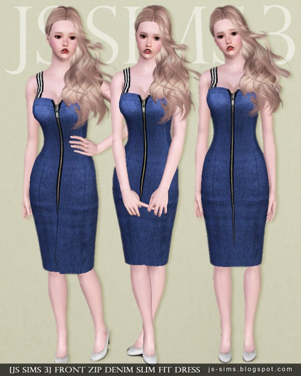 JS Sims 4: Front Zip Denim Slim Fit Dress